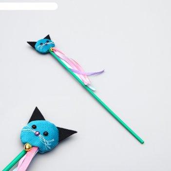 Дразнилка киса с кошачьей мятой и лентами, палочка 35 см, микс цветов
