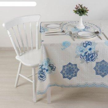 Клеенка ажурная lace  (рулон 10 скатертей 137х180 см), цвет бело-голубой
