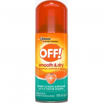Off! аэрозоль от комаров  smooth&dry 100мл