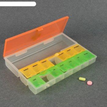Таблетница-органайзер неделька 15секц микс
