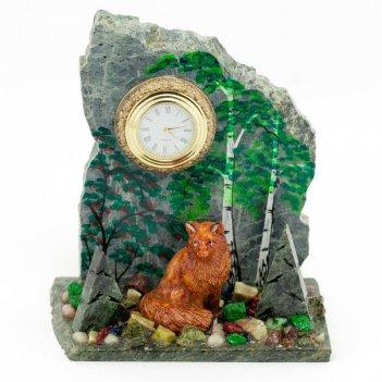 Часы лисица змеевик