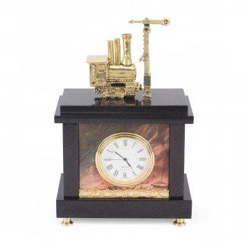Часы паровоз с семафором бронза яшма 125х70х200 мм 1900 гр.