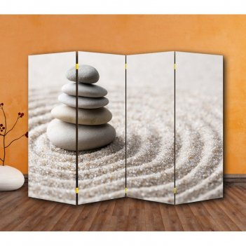 Ширма камни на песке, двухстороняя, 200 x 160 см