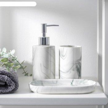 Набор для ванной «сила», 3 предмета (мыльница, дозатор для мыла, стакан),