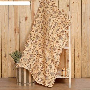 Полотенце для бани collorista банька 80х 150 см,  хлопок вафельное полотно