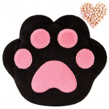 Развивающая игрушка-грелка лапа, чёрно-розовая 644