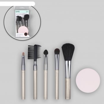 Набор кистей для макияжа, 6 предметов, пвх-пакет, серый/розовый