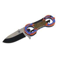 Нож перочинный складной с фиксатором рукоять два кольца сине-оранжевый 15х