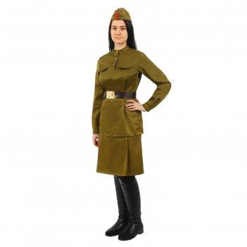 Костюм военного женский  с пилоткой( гимнастерка, юбка, ремень, пилотка) р