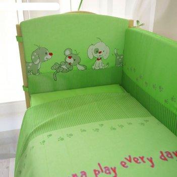 Комплект в кроватку «веселая игра», 6 предметов, зелёный