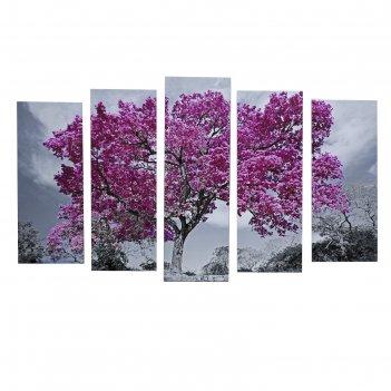 Картина модульная на подрамнике дерево в цвету 125х80 см (2-25х63, 2-25х70