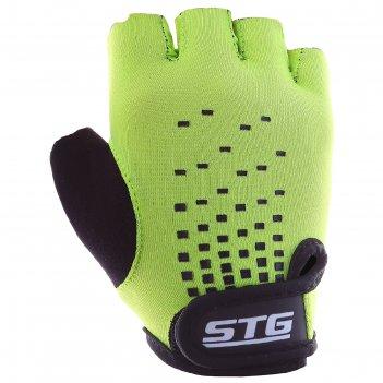 Перчатки велосипедные детские stg al-03-511, размер m, цвет зелёный/чёрный