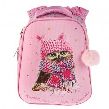 Рюкзак каркасный hatber ergonomic 37*29*17 дев совушка розовый nrk_21008