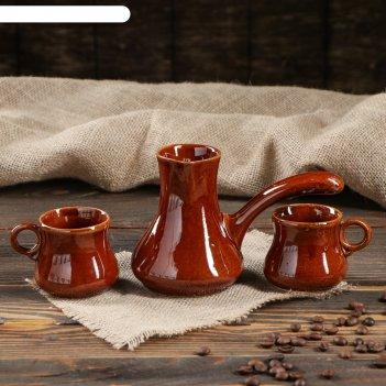 Кофейный набор турка и 2 чашки, коричневый