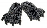 Тапочки - зверушки пушистые лапа леопарда темные, 44 размер
