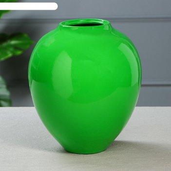 Ваза настольная велеса, глянец, зелёная ( 1 сорт)
