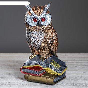 Статуэтка сова на книгах №3 бронза цветной 34см