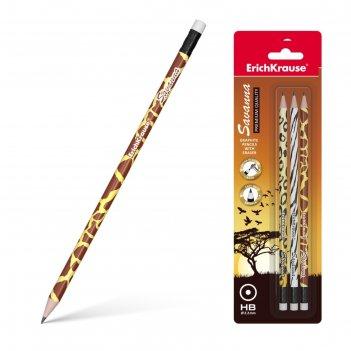 Набор карандашей чернографитных с ластиком 3 штуки erich krause savanna hb