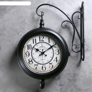Двойные настенные часы, капелька внизу, d=25, цвет черный, 45*40см