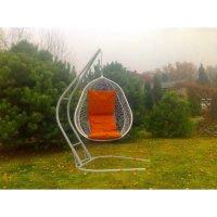 Подвесное кресло на стойке капри, белое/оранжевая
