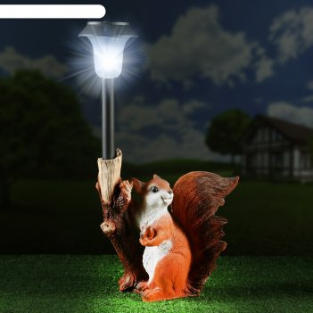 Садовый фонарь белка с веткой-фонарем 33см