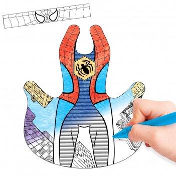 Маскарадный костюм-раскраска человек-паутинка и восковые карандаши