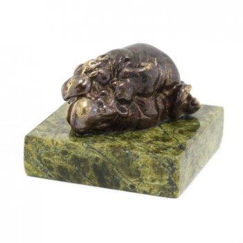 Статуэтка бегемоты камасутра бронза змеевик