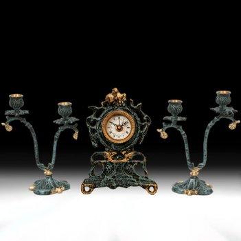 Часы настольные с канделябрами на 2 свечи, набор из 3 предм.