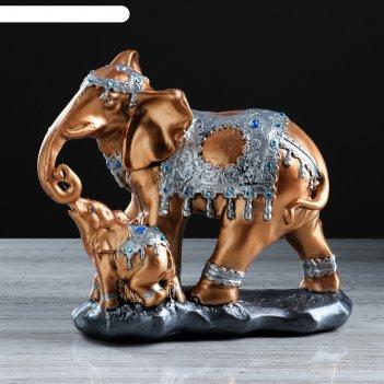 Статуэтка слон со слонёнком цвет бронзовый, 26,5