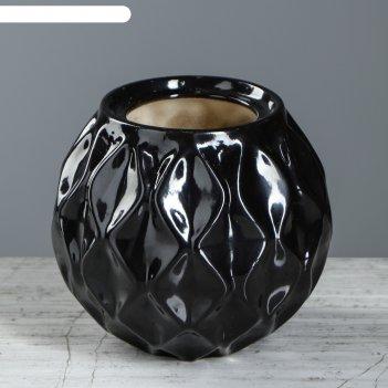 Ваза шарик малый, рельефный, черный