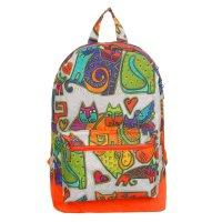 4815 п600/д рюкзак молод, 30*11*44см, беж кошки/оранж, 1 отд, нар карман