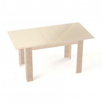 Бостон стол раскладной, 1200(1500)х800 мм, ясень коимбра/стекло бежевое