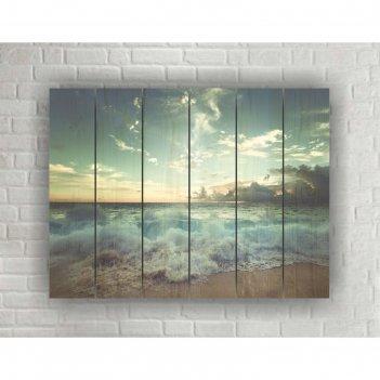 Картина на дереве в стиле loft песчаный пляж №1.33, 56*42 см