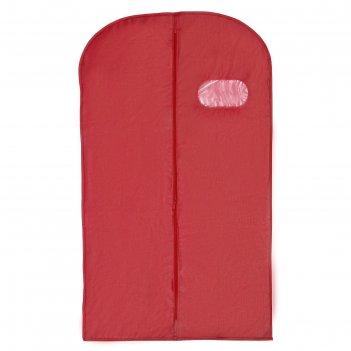 Чехол для одежды с окном 60x100 см, спанбонд, цвет бордо