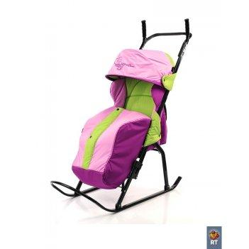 Санки-коляска кенгуру-1 салатовый-розовый-сиреневый