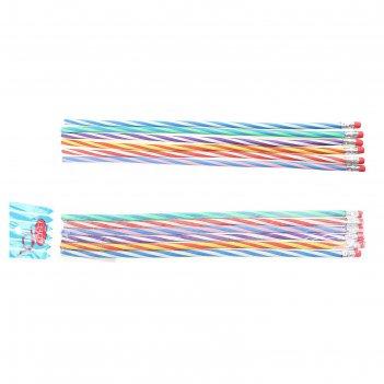 Набор карандашей чёрнографитных гнущиеся спираль с ластиками, 6шт.