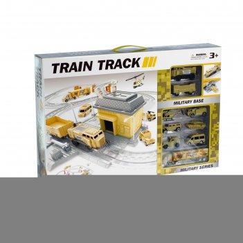 Железная дорога «военная база», работает от батареек
