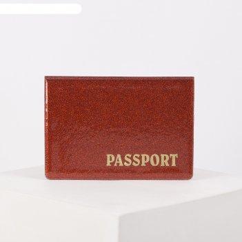 Обложка для паспорта, 13,5*0,5*9,5, горизонт, лат буквы, блеск, красный