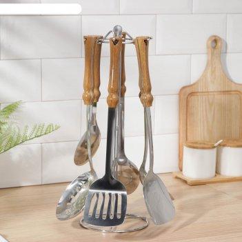 Набор кухонных принадлежностей «глен», 6 предметов, на подставке