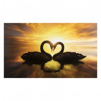 Картина на холсте любовь и лебеди 60*100 см