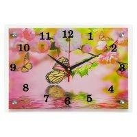 Часы настенные прямоугольные бабочки25х35см