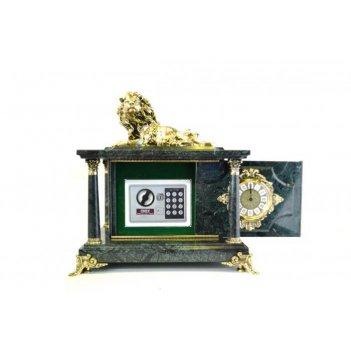 Часы-сейф из зеленого мрамора с львом