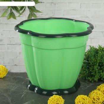 Горшок для цветов восторг 1,5 л, поддон, зеленый