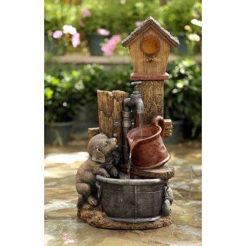 Садовый фонтан  щенок