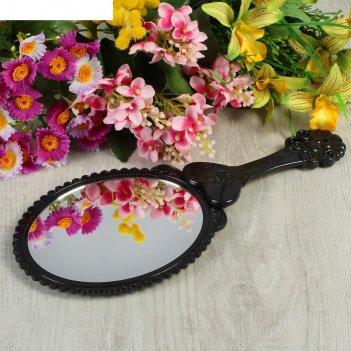 Зеркало компактное, с ручкой, овальное, без увеличения, цвета микс