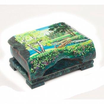 Шкатулка с расписной крышкой 15х9,5х6,5 см