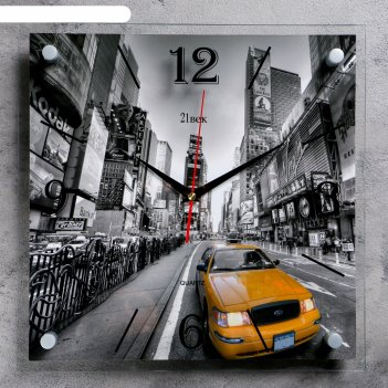 Часы настенные квадратные желтое такси, 35х35 см