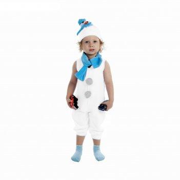 Карнавальный костюм снеговик белый с голубым шарфом комбинезон, шапка, шар