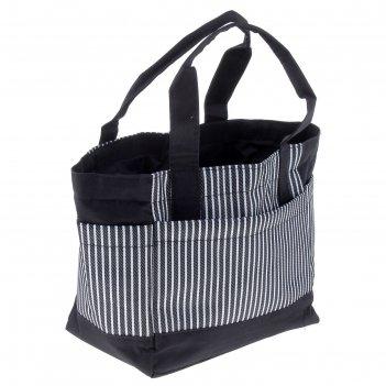 Косметичка банная полоски 1 отдел, на шнурке, 3 наружных кармана, серый