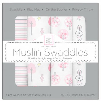 Набор муслиновых пеленок 4 шт. swaddledesigns pink thicket